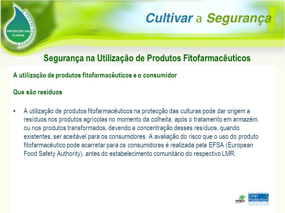 Segurança na Utilização de Produtos Fitofarmacêuticos A utilização de produtos fitofarmacêuticos e o consumidor Que são resíduos A utilização de produ
