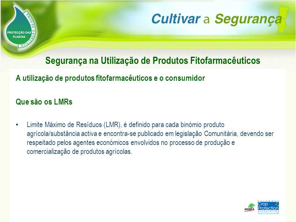 Segurança na Utilização de Produtos Fitofarmacêuticos A utilização de produtos fitofarmacêuticos e o consumidor Que são os LMRs Limite Máximo de Resíd
