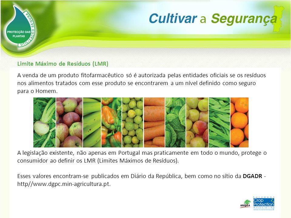 Limite Máximo de Resíduos (LMR) A venda de um produto fitofarmacêutico só é autorizada pelas entidades oficiais se os resíduos nos alimentos tratados