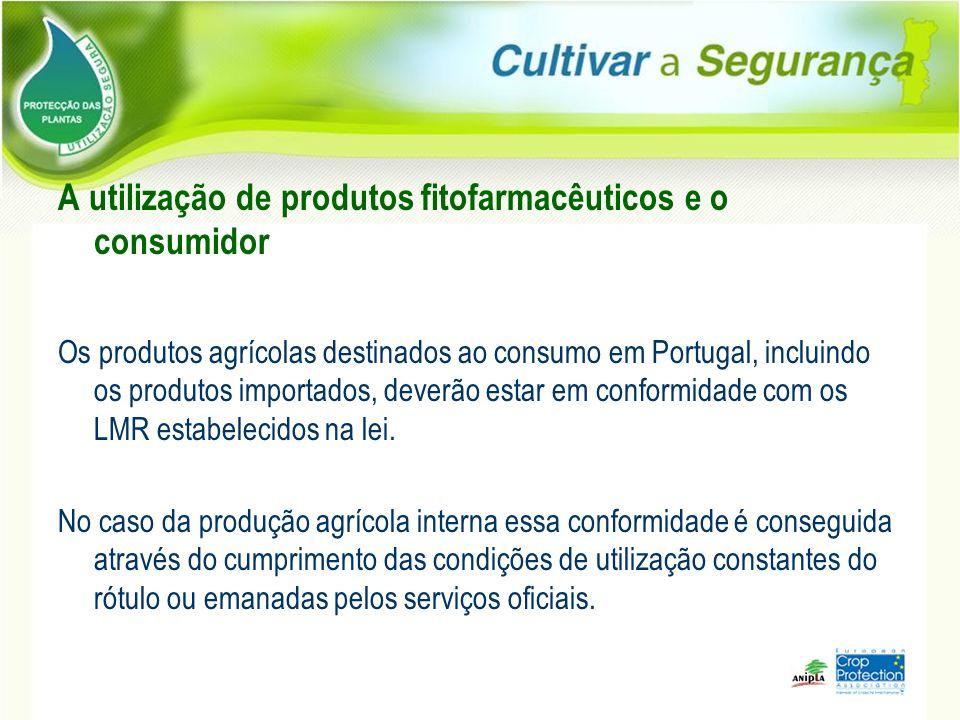 A utilização de produtos fitofarmacêuticos e o consumidor Os produtos agrícolas destinados ao consumo em Portugal, incluindo os produtos importados, d