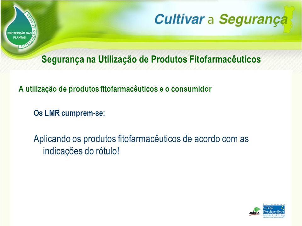 Segurança na Utilização de Produtos Fitofarmacêuticos A utilização de produtos fitofarmacêuticos e o consumidor Os LMR cumprem-se: Aplicando os produt