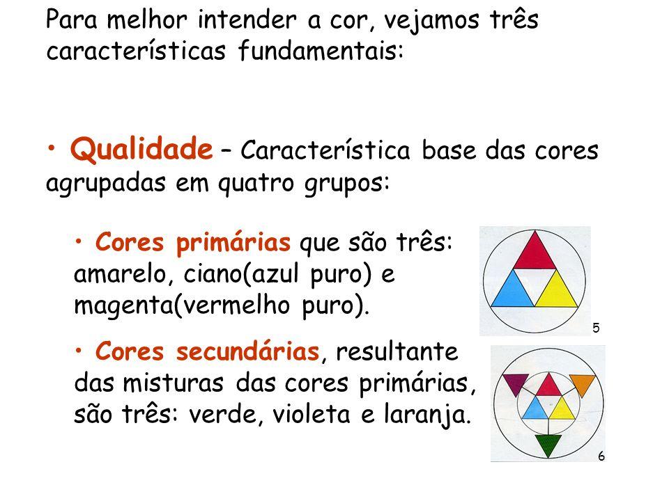 Para melhor intender a cor, vejamos três características fundamentais: Qualidade – Característica base das cores agrupadas em quatro grupos: Cores pri
