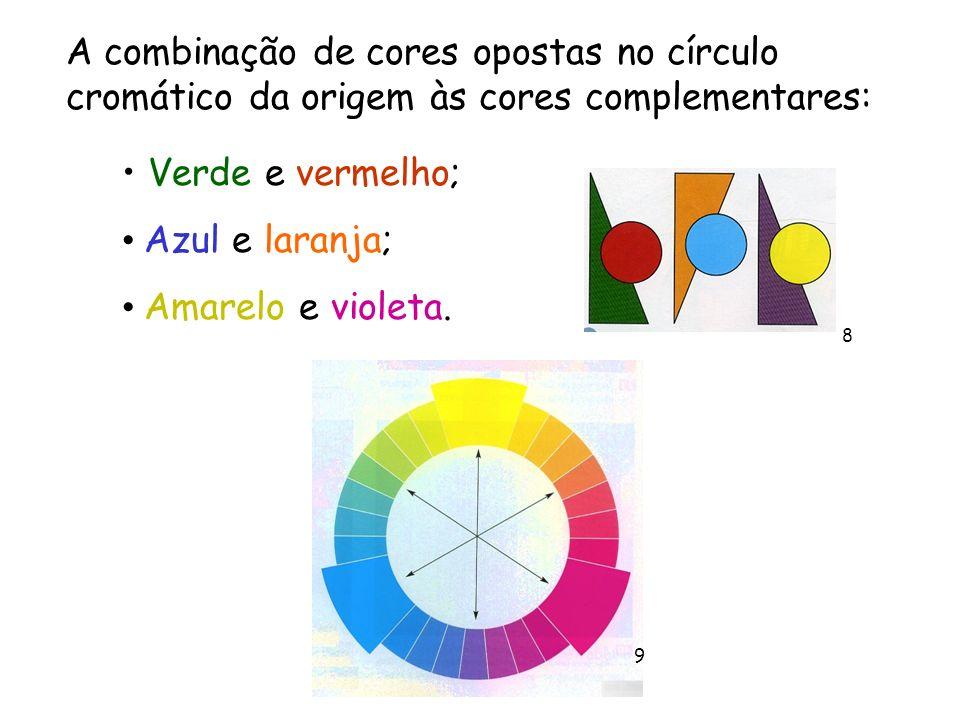 A combinação de cores opostas no círculo cromático da origem às cores complementares: Verde e vermelho; Azul e laranja; Amarelo e violeta. 8 9