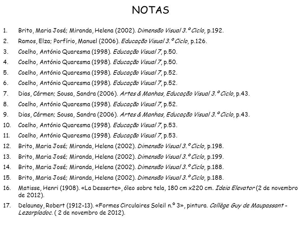 NOTAS 1.Brito, Maria José; Miranda, Helena (2002). Dimensão Visual 3.º Ciclo, p.192. 2.Ramos, Elza; Porfírio, Manuel (2006). Educação Visual 3.º Ciclo