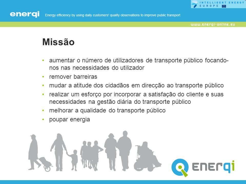 Missão aumentar o número de utilizadores de transporte público focando- nos nas necessidades do utilizador remover barreiras mudar a atitude dos cidad