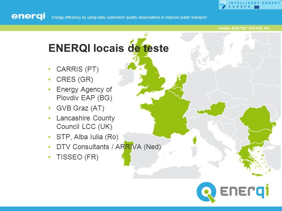 ENERQI locais de teste CARRIS (PT) CRES (GR) Energy Agency of Plovdiv EAP (BG) GVB Graz (AT) Lancashire County Council LCC (UK) STP, Alba Iulia (Ro) D