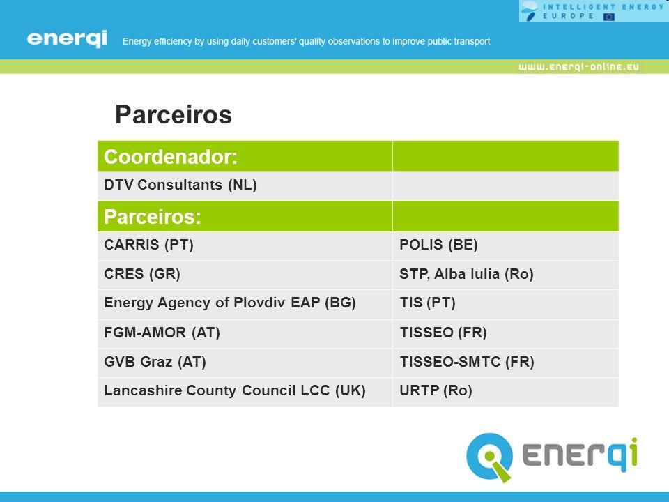Parceiros Coordenador: DTV Consultants (NL) Parceiros: CARRIS (PT)POLIS (BE) CRES (GR)STP, Alba Iulia (Ro) Energy Agency of Plovdiv EAP (BG)TIS (PT) F