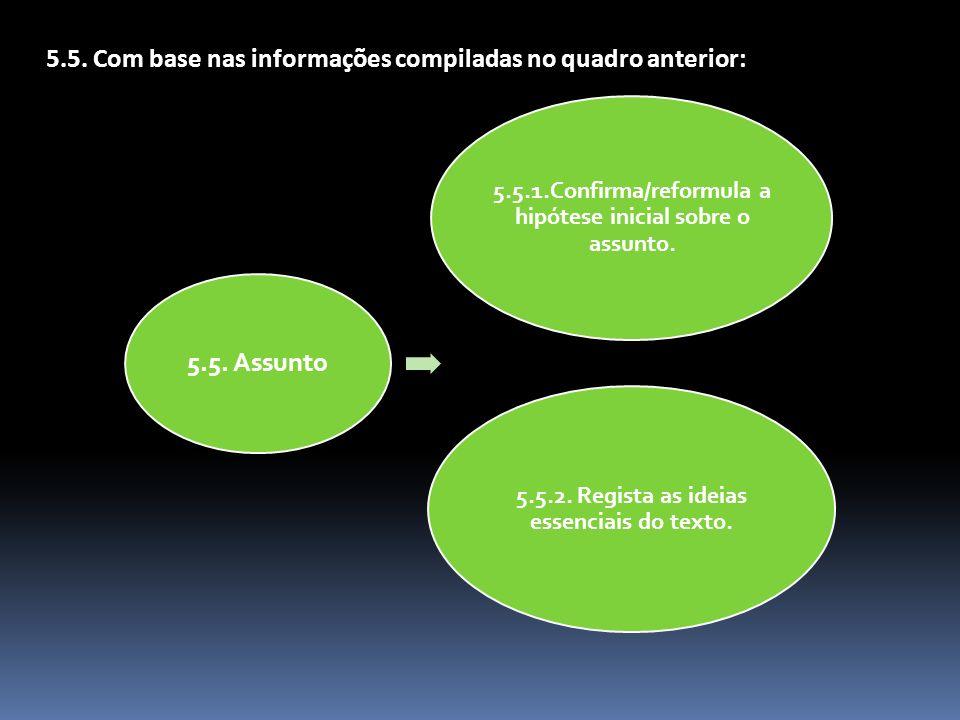 5.5.1.Confirma/reformula a hipótese inicial sobre o assunto. 5.5.2. Regista as ideias essenciais do texto. 5.5. Assunto 5.5. Com base nas informações