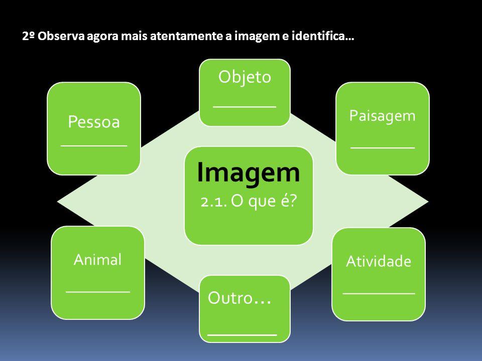 2º Observa agora mais atentamente a imagem e identifica… Imagem 2.1. O que é? Objeto _______ Outro … ______