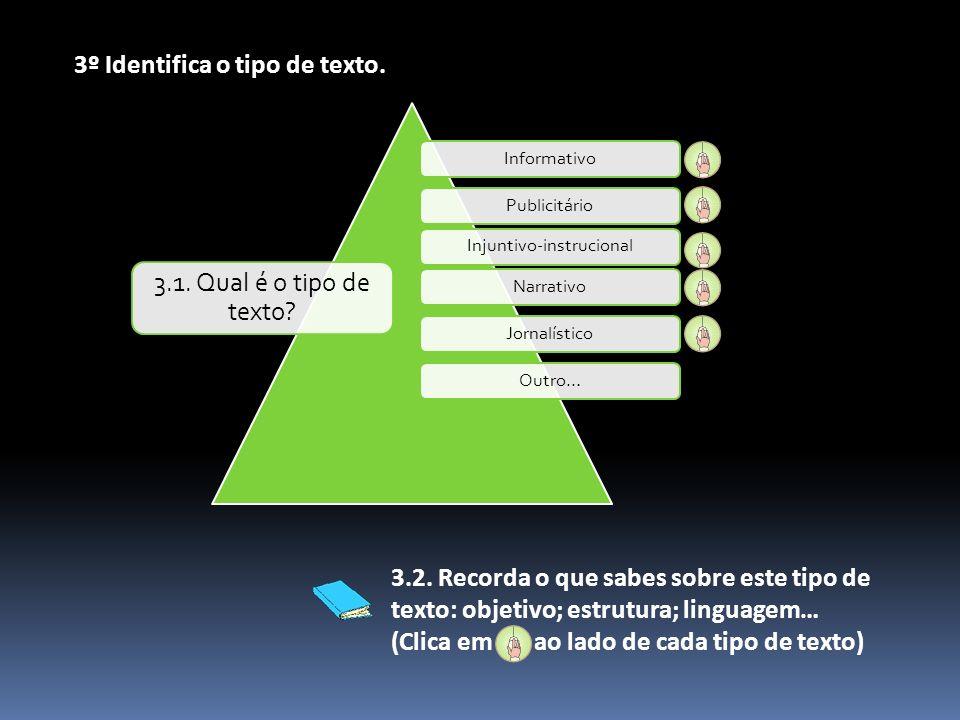 InformativoPublicitárioInjuntivo-instrucionalNarrativoJornalísticoOutro… 3.1. Qual é o tipo de texto? 3º Identifica o tipo de texto. 3.2. Recorda o qu