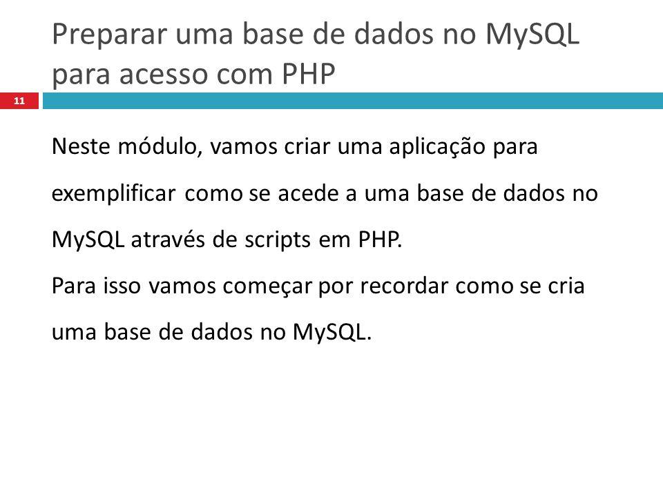 Preparar uma base de dados no MySQL para acesso com PHP 11 Neste módulo, vamos criar uma aplicação para exemplificar como se acede a uma base de dados no MySQL através de scripts em PHP.