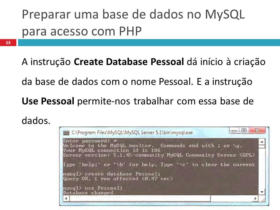 Preparar uma base de dados no MySQL para acesso com PHP 13 A instrução Create Database Pessoal dá início à criação da base de dados com o nome Pessoal.