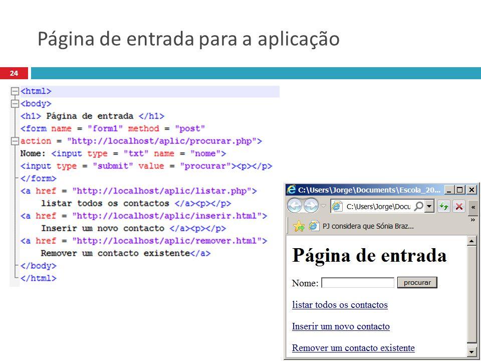 Página de entrada para a aplicação 24