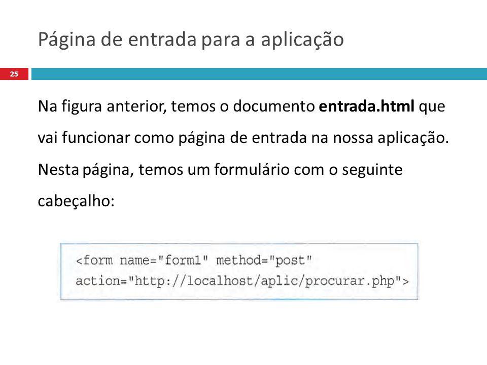 25 Na figura anterior, temos o documento entrada.html que vai funcionar como página de entrada na nossa aplicação.