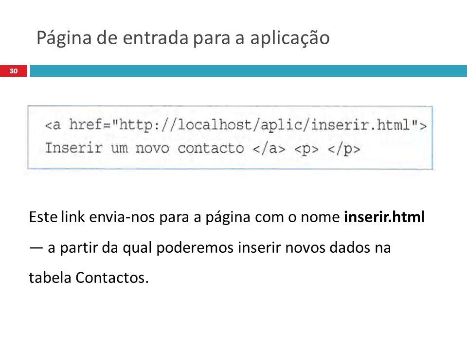 30 Este link envia-nos para a página com o nome inserir.html a partir da qual poderemos inserir novos dados na tabela Contactos.
