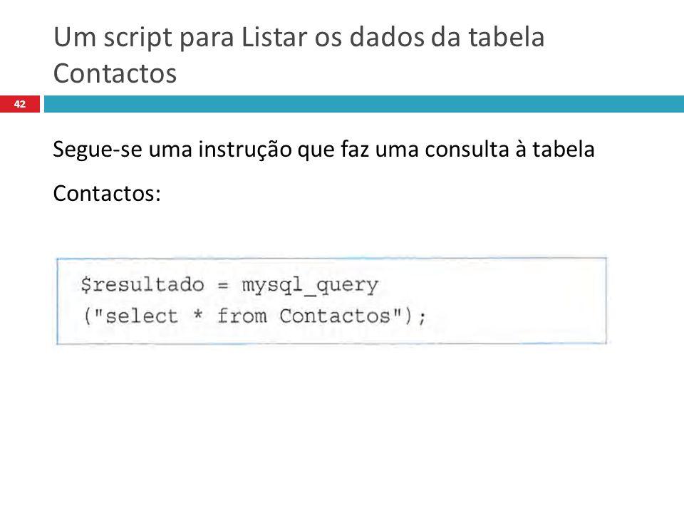 42 Segue-se uma instrução que faz uma consulta à tabela Contactos: Um script para Listar os dados da tabela Contactos