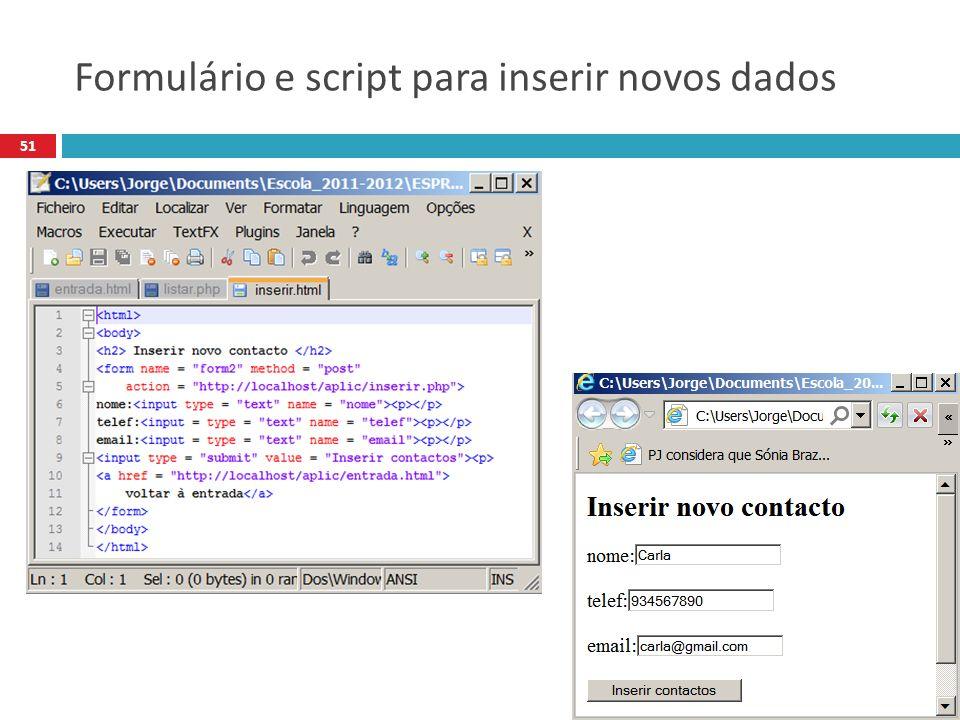 51 Formulário e script para inserir novos dados