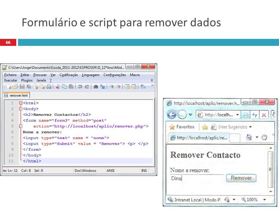 66 Formulário e script para remover dados