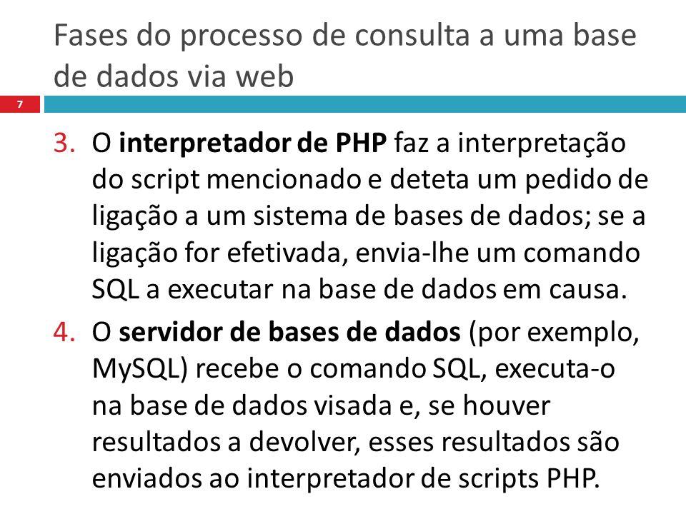 Fases do processo de consulta a uma base de dados via web 7 3.O interpretador de PHP faz a interpretação do script mencionado e deteta um pedido de ligação a um sistema de bases de dados; se a ligação for efetivada, envia-lhe um comando SQL a executar na base de dados em causa.