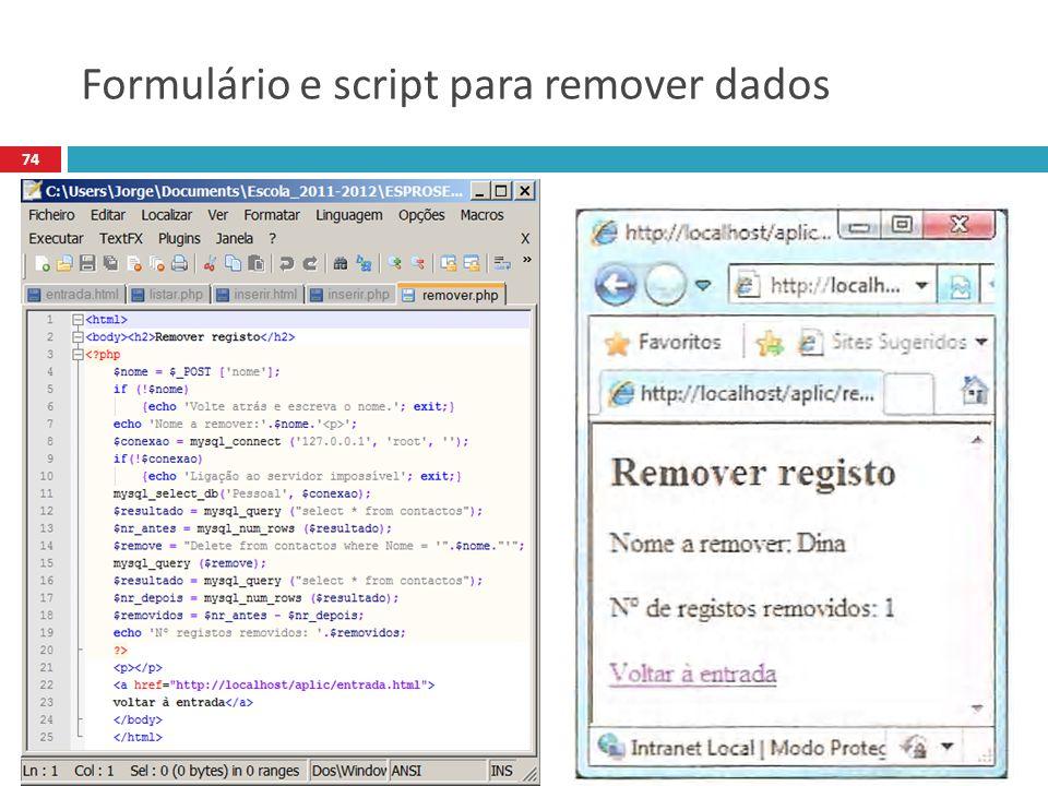 74 Formulário e script para remover dados