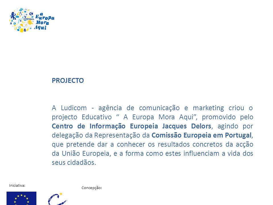 Iniciativa: Concepção: Projecto financiado pela comissão Europeia PROJECTO A Ludicom - agência de comunicação e marketing criou o projecto Educativo A