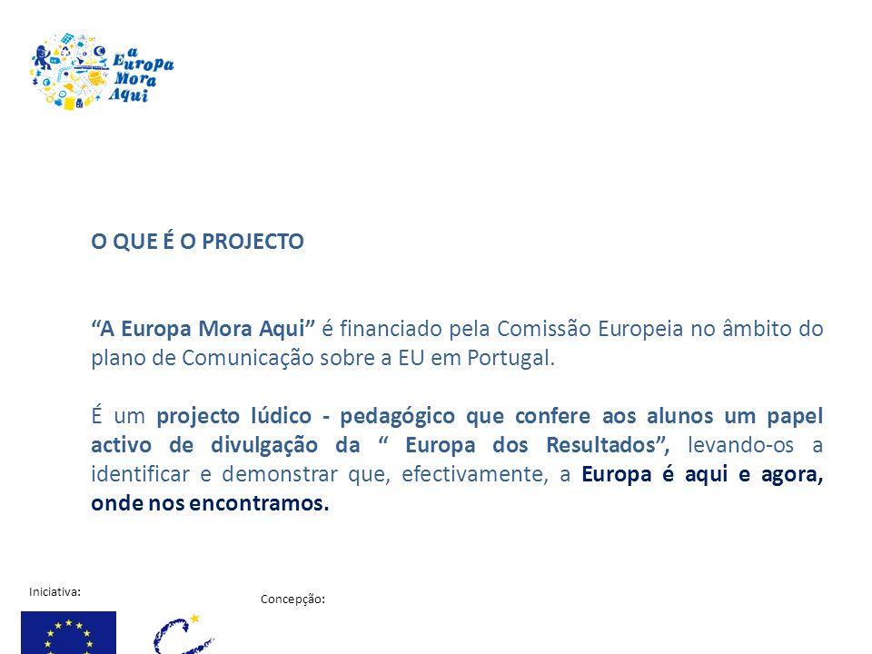 Iniciativa: Concepção: Projecto financiado pela comissão Europeia O QUE É O PROJECTO A Europa Mora Aqui é financiado pela Comissão Europeia no âmbito