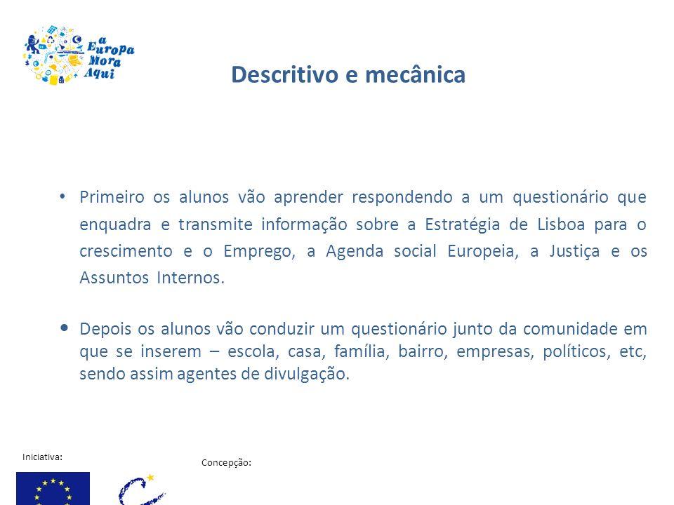 Iniciativa: Concepção: Projecto financiado pela comissão Europeia Primeiro os alunos vão aprender respondendo a um questionário que enquadra e transmi