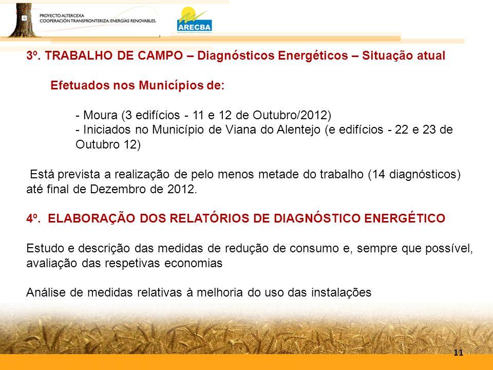 11 3º. TRABALHO DE CAMPO – Diagnósticos Energéticos – Situação atual Efetuados nos Municípios de: - Moura (3 edifícios - 11 e 12 de Outubro/2012) - In