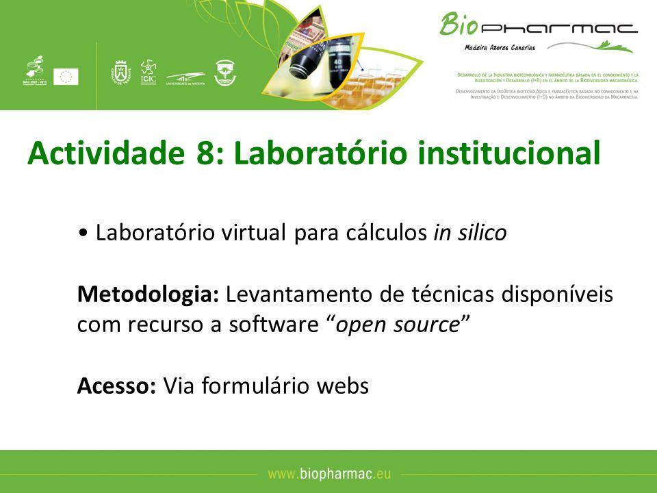 Actividade 8: Laboratório institucional (cont) Conteúdo: Previsão de bioactividades (anti- cancerígena, anti-inflamatória, anti-microbiana,…) -Identificação de alvos moleculares -Desenvolvimento de lead compounds Acção piloto: Testes para os sócios