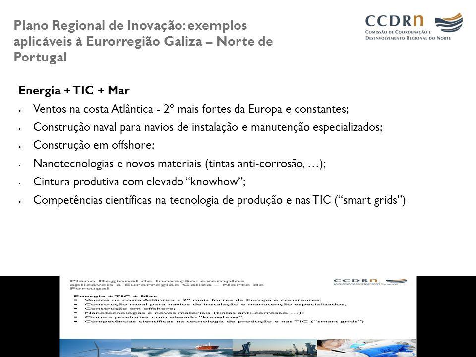 Plano Regional de Inovação: exemplos aplicáveis à Eurorregião Galiza – Norte de Portugal Energia + TIC + Mar Ventos na costa Atlântica - 2º mais forte