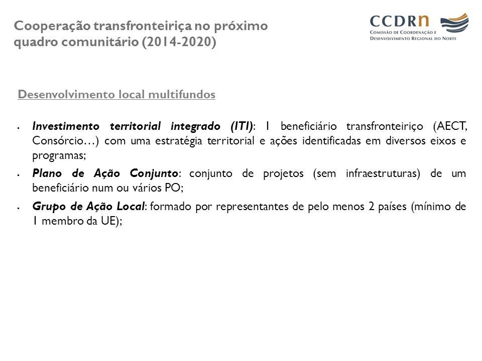 Cooperação transfronteiriça no próximo quadro comunitário (2014-2020) Desenvolvimento local multifundos Investimento territorial integrado (ITI): 1 be