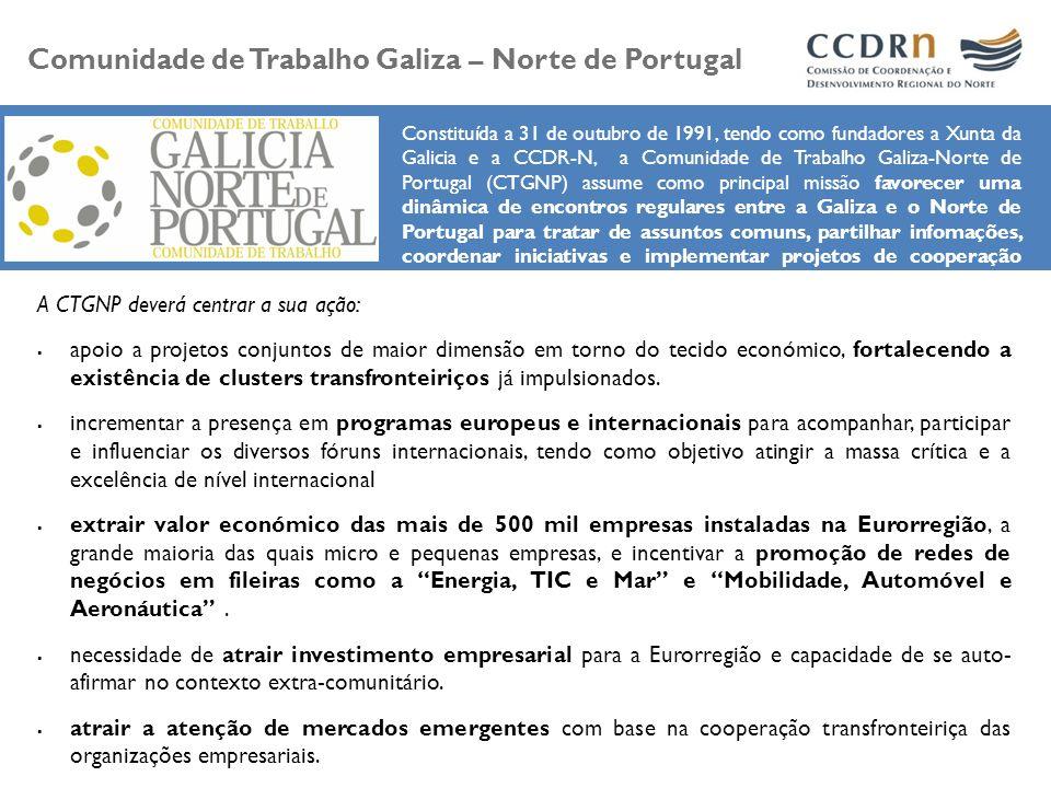 Constituída a 31 de outubro de 1991, tendo como fundadores a Xunta da Galicia e a CCDR-N, a Comunidade de Trabalho Galiza-Norte de Portugal (CTGNP) as