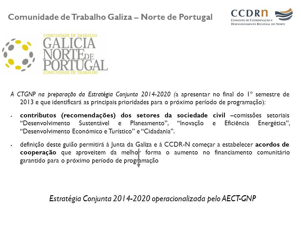 A CTGNP na preparação da Estratégia Conjunta 2014-2020 (a apresentar no final do 1º semestre de 2013 e que identificará as principais prioridades para