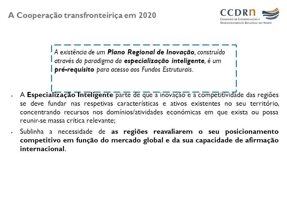 A Cooperação transfronteiriça em 2020 A existência de um Plano Regional de Inovação, construído através do paradigma da especialização inteligente, é