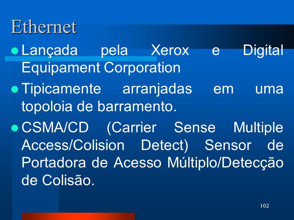 102 Ethernet Lançada pela Xerox e Digital Equipament Corporation Tipicamente arranjadas em uma topoloia de barramento. CSMA/CD (Carrier Sense Multiple