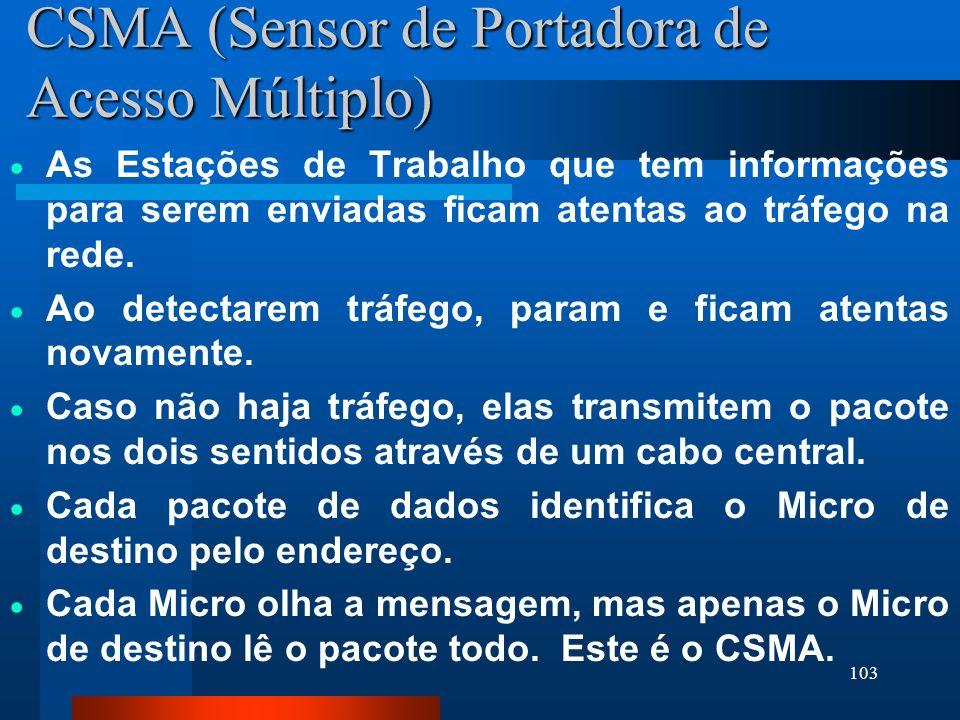 103 CSMA (Sensor de Portadora de Acesso Múltiplo) As Estações de Trabalho que tem informações para serem enviadas ficam atentas ao tráfego na rede. Ao