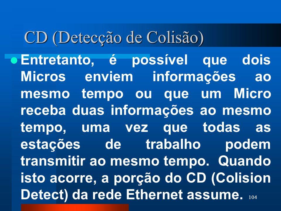 104 CD (Detecção de Colisão) Entretanto, é possível que dois Micros enviem informações ao mesmo tempo ou que um Micro receba duas informações ao mesmo