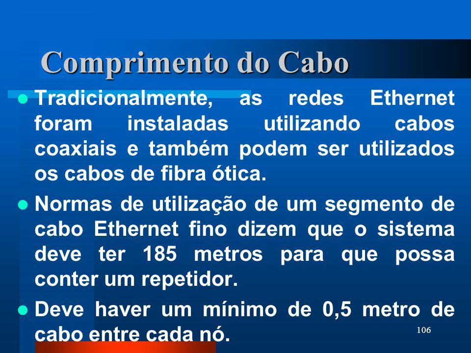 106 Comprimento do Cabo Tradicionalmente, as redes Ethernet foram instaladas utilizando cabos coaxiais e também podem ser utilizados os cabos de fibra