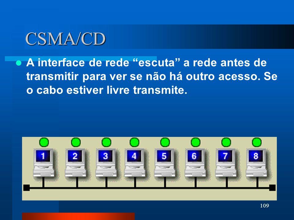 109 CSMA/CD A interface de rede escuta a rede antes de transmitir para ver se não há outro acesso. Se o cabo estiver livre transmite.