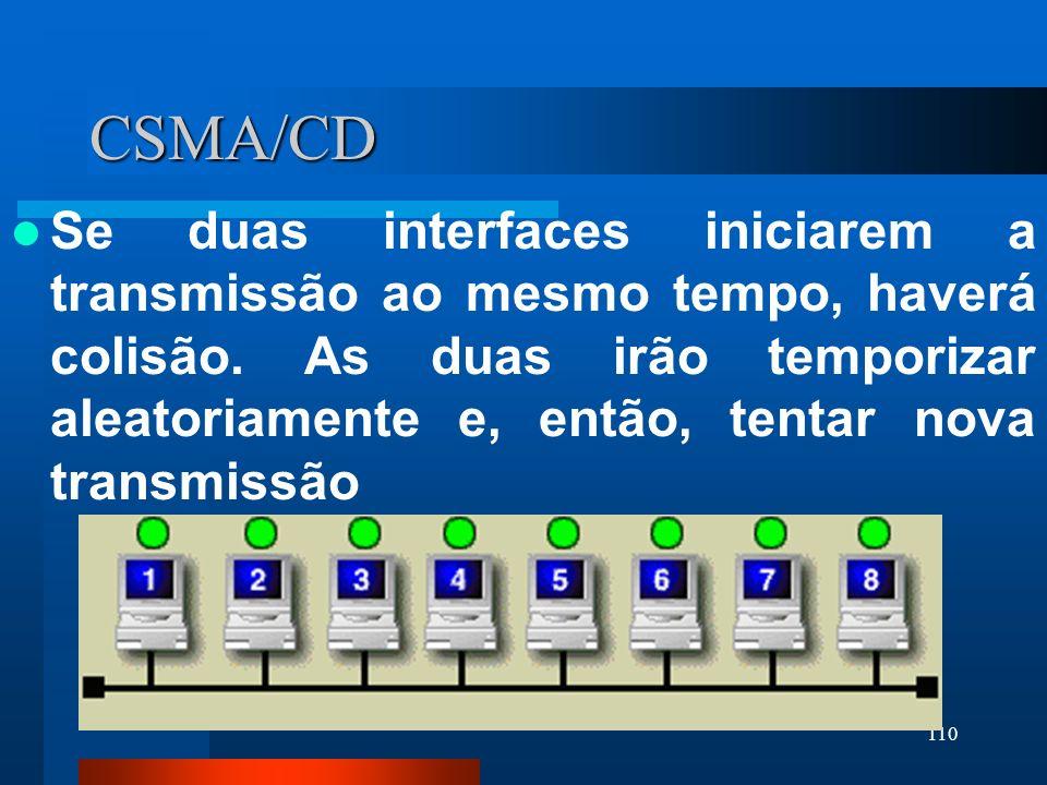 110 CSMA/CD Se duas interfaces iniciarem a transmissão ao mesmo tempo, haverá colisão. As duas irão temporizar aleatoriamente e, então, tentar nova tr
