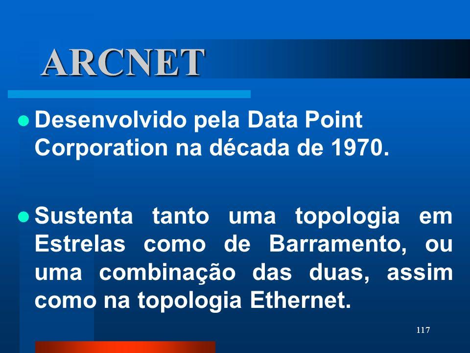 117 ARCNET Desenvolvido pela Data Point Corporation na década de 1970. Sustenta tanto uma topologia em Estrelas como de Barramento, ou uma combinação