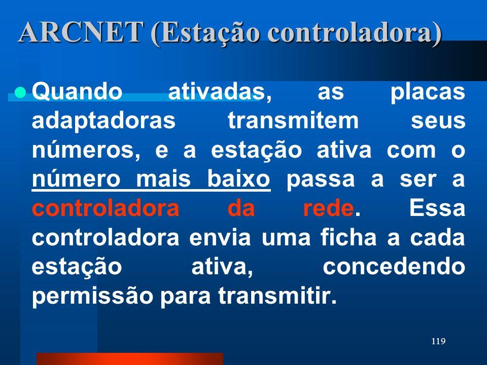 119 ARCNET (Estação controladora) Quando ativadas, as placas adaptadoras transmitem seus números, e a estação ativa com o número mais baixo passa a se