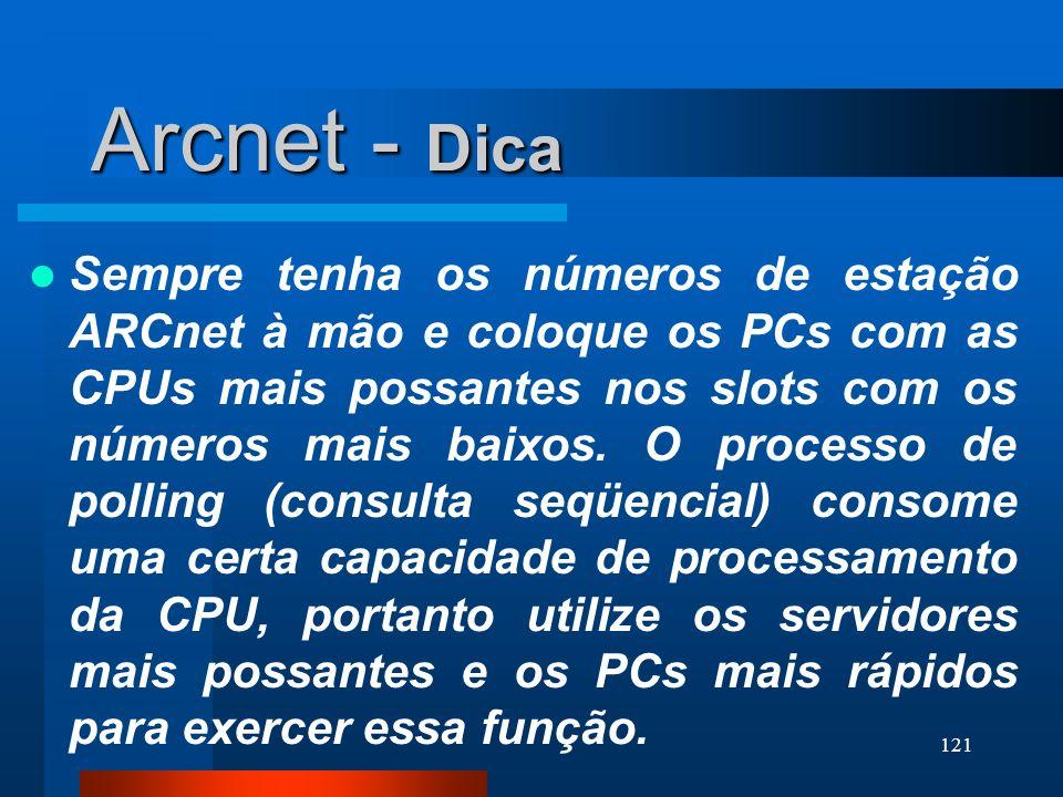 121 Arcnet - Dica Sempre tenha os números de estação ARCnet à mão e coloque os PCs com as CPUs mais possantes nos slots com os números mais baixos. O