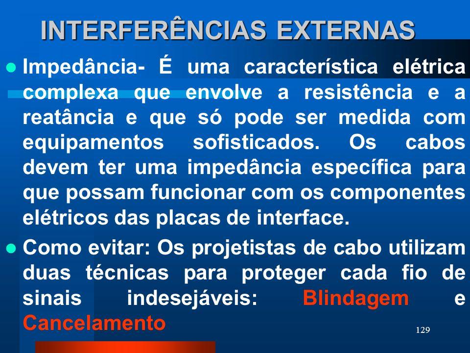 129 INTERFERÊNCIAS EXTERNAS Impedância- É uma característica elétrica complexa que envolve a resistência e a reatância e que só pode ser medida com eq