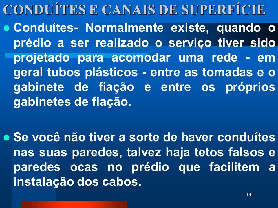 141 CONDUÍTES E CANAIS DE SUPERFÍCIE Conduítes- Normalmente existe, quando o prédio a ser realizado o serviço tiver sido projetado para acomodar uma r