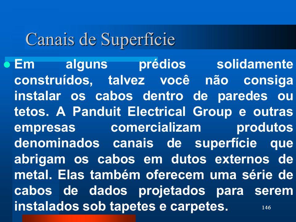 146 Canais de Superfície Em alguns prédios solidamente construídos, talvez você não consiga instalar os cabos dentro de paredes ou tetos. A Panduit El