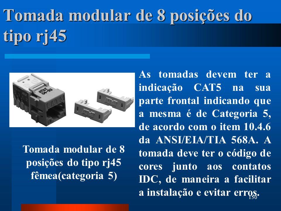 150 Tomada modular de 8 posições do tipo rj45 As tomadas devem ter a indicação CAT5 na sua parte frontal indicando que a mesma é de Categoria 5, de ac