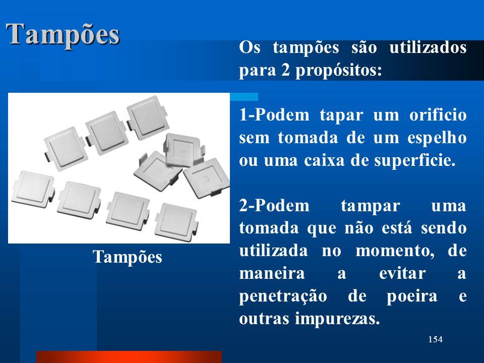 154 Tampões Os tampões são utilizados para 2 propósitos: 1-Podem tapar um orificio sem tomada de um espelho ou uma caixa de superficie. 2-Podem tampar