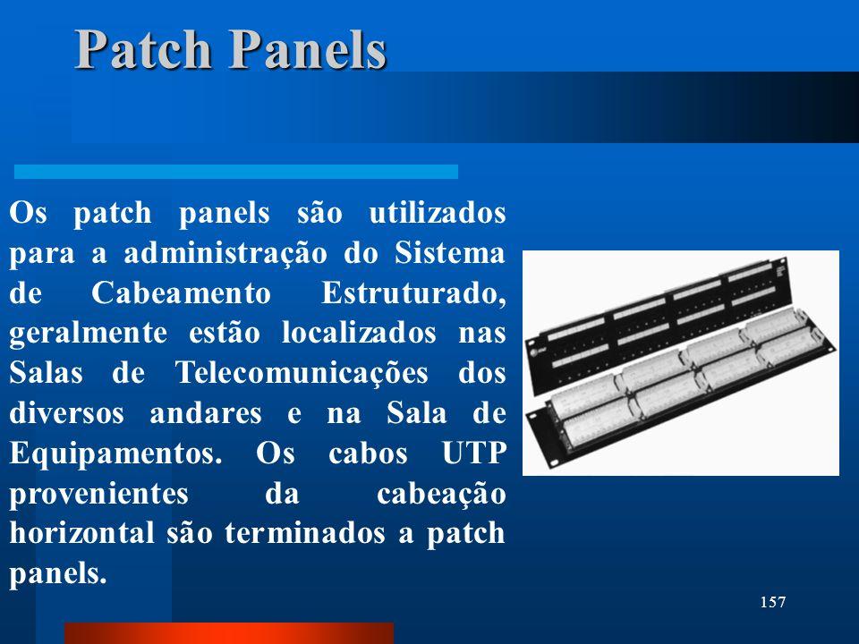 157 Patch Panels Os patch panels são utilizados para a administração do Sistema de Cabeamento Estruturado, geralmente estão localizados nas Salas de T