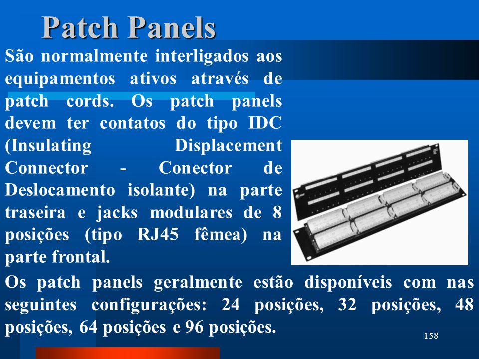 158 Patch Panels São normalmente interligados aos equipamentos ativos através de patch cords. Os patch panels devem ter contatos do tipo IDC (Insulati